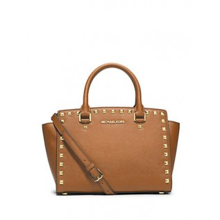 Selma Medium Studded Saffiano Leather PEANUT
