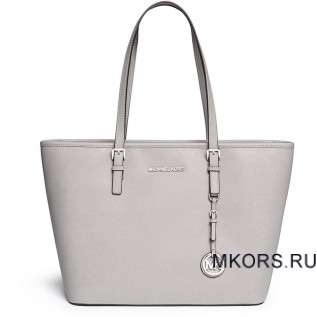 MICHAEL KORS JET SET TRAVEL SAFFIANO LEATHER TOP-ZIP TOTE PERAL GREY