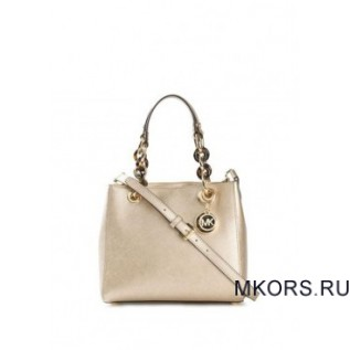 Cynthia Small Leather Satchel Pale Gold