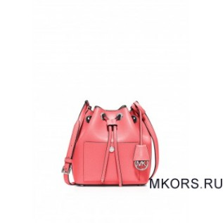 Greenwich Small Saffiano Leather Bucket Bag Coral