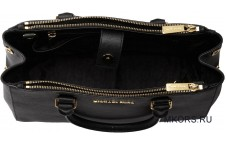 Sutton Medium Saffiano Leather Satchel Black